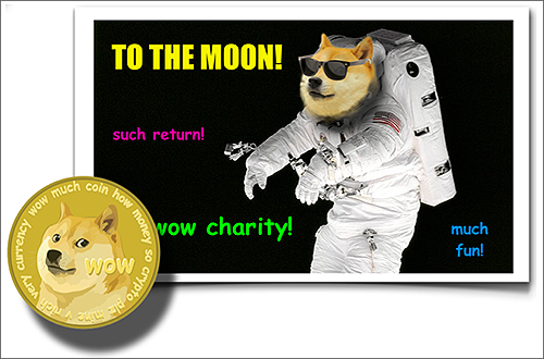 Dogecoin currency: To the moon! (Humour and Optimism)