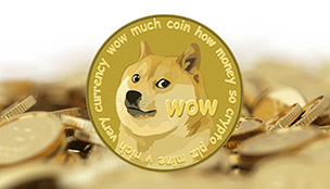 Dogecoin currency: stacks of coins